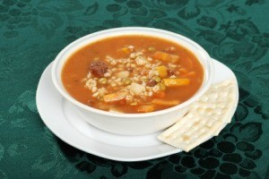 Vegetable Beef Barley Soup in White Bowl