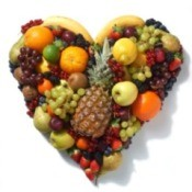 Fruits and Vegetables in Heart Shape