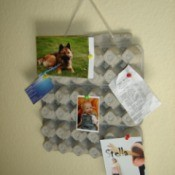 Bulletin board made from egg cartons