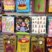 Photo of gift bags at a store.