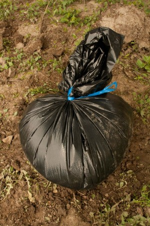 Garbage Bag Tied off on Dirt Mound