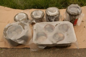 Hypertufa Pots Covered in Plastic