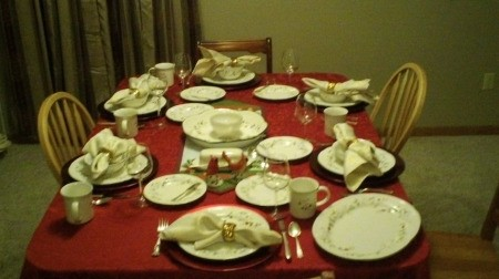 Table set for a holiday meal.