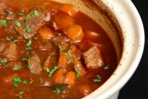 Photo of beef stew made in a crockpot.