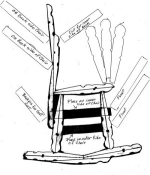 Diagram of how to make a clothes pin rocking chair.