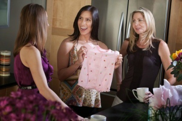 Woman Receiving Baby Shower Gift