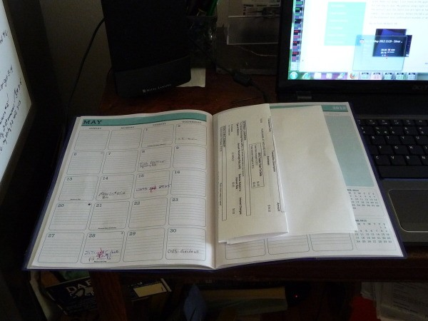 A monthly planner for organizing bills.