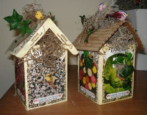 Decorative birdhouses.