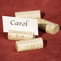 Wine cork used as name card holder