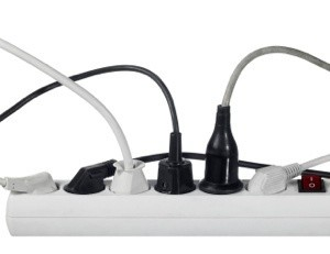 Power Strip With Many Cords Plugged In