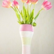 Yarn Wrapped Vase With Tulips
