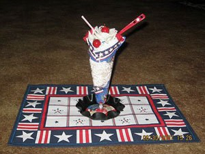 A patriotic sundae table decoration.