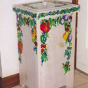 Painted potato bin.