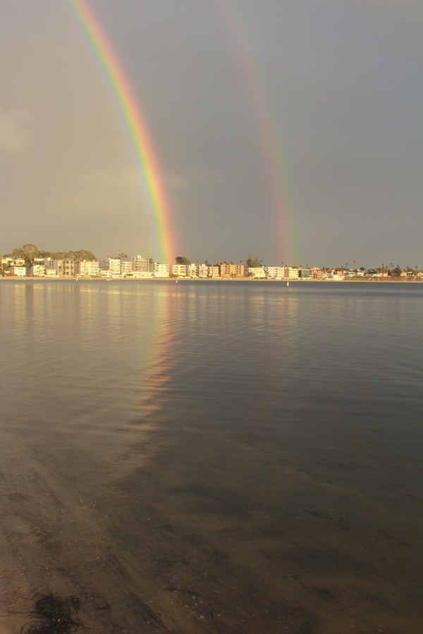 Double rainbows over Mission Bay