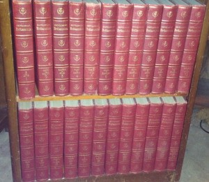 Encyclopedia Britannica on bookshelf.