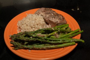 Ginger Lemon Asparagus served with pork and rice.