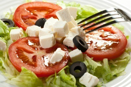 Feta Salad with Fork