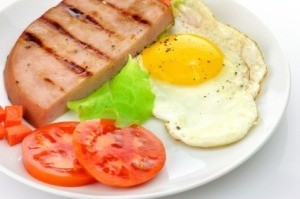 Grilled Ham and Eggs with Tomato