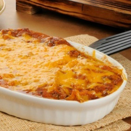 Chili Casserole in White Dish