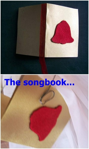 Two photos of making the song book.