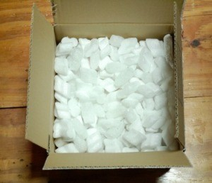 A box with packing peanuts in it
