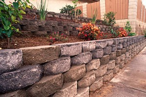 garden behind stacked wall