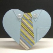 Heart shaped shirt and tie Father's Day card.