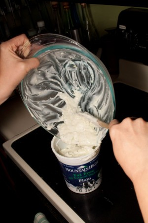 Place Tzatziki in Yogurt Container