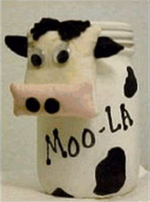 Cow bank from mayonnaise jar.