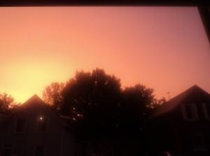 Pinkish sky after a thunder storm.