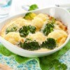Broccoli Cauliflower Casserole in White Dish