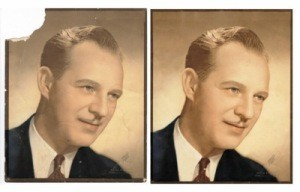 A vintage photo of a man before and after restoration.