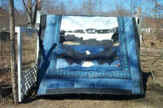 Quilt made from recycled jeans.