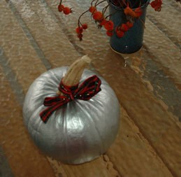 Pumpkin painted silver.