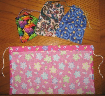 Small fabric bags made from fabric scraps.
