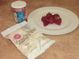 Ingredients for dipped strawberries.