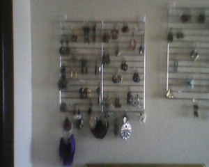 Earrings on rack.