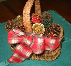Basket filled with pinecones.