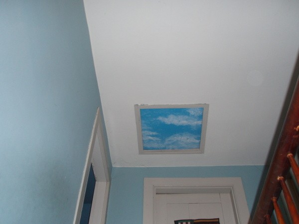 Faux painted sky light to disguise the attic access panel.