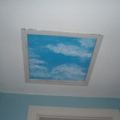 "Closer view of the finished ""skylight""."