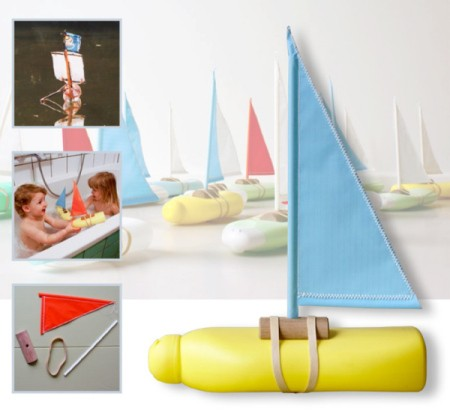 Bottle sailboat, materials, and children playing with the boat.