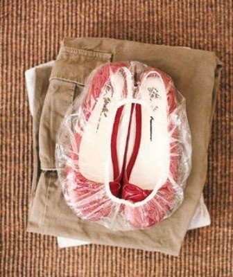 Red shoes inside shower cap.