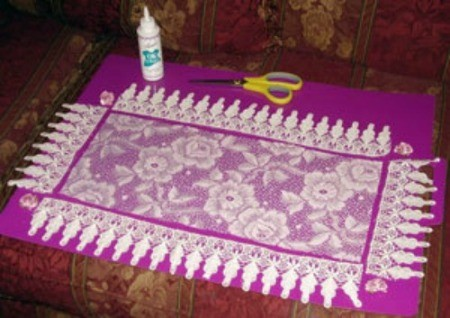 Lace Toilet Tank Topper - Cut piece of lace.
