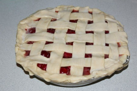 Cherry pie with lattice crust using strips of prepared pie crust