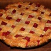 Baked cherry pie with lattice crust