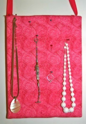 Fabric covered Styrofoam jewelry organizer.