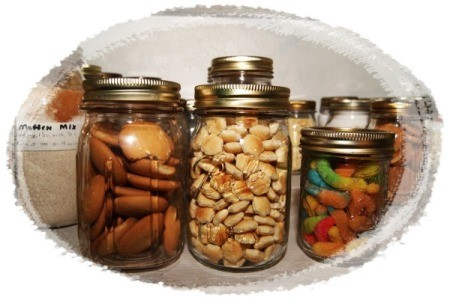 Food stored in glass canning jars.