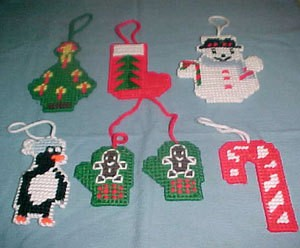 Plastic canvas ornaments.