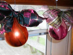 Glass ornaments with paint on the inside.