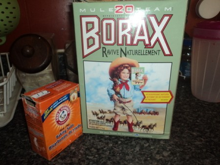 Boxes of borax and baking soda.